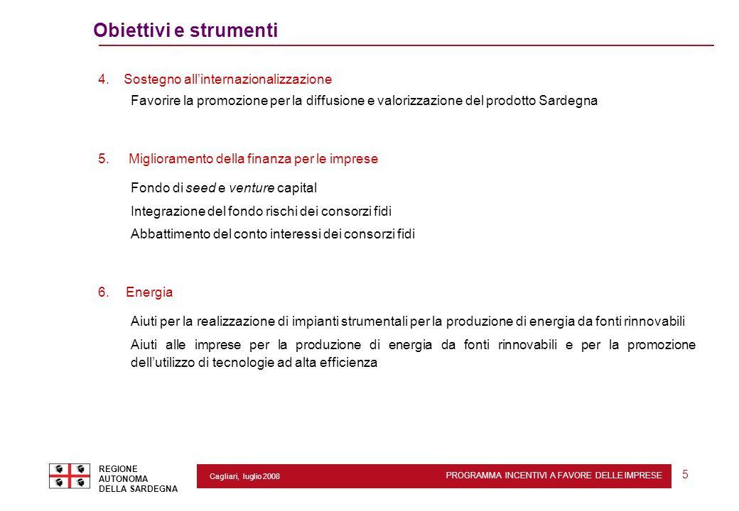 PROGRAMMA INCENTIVI A FAVORE DELLE IMPRESE REGIONE AUTONOMA DELLA SARDEGNA 5 Cagliari, luglio 2008 Obiettivi e strumenti 4. Sostegno allinternazionali