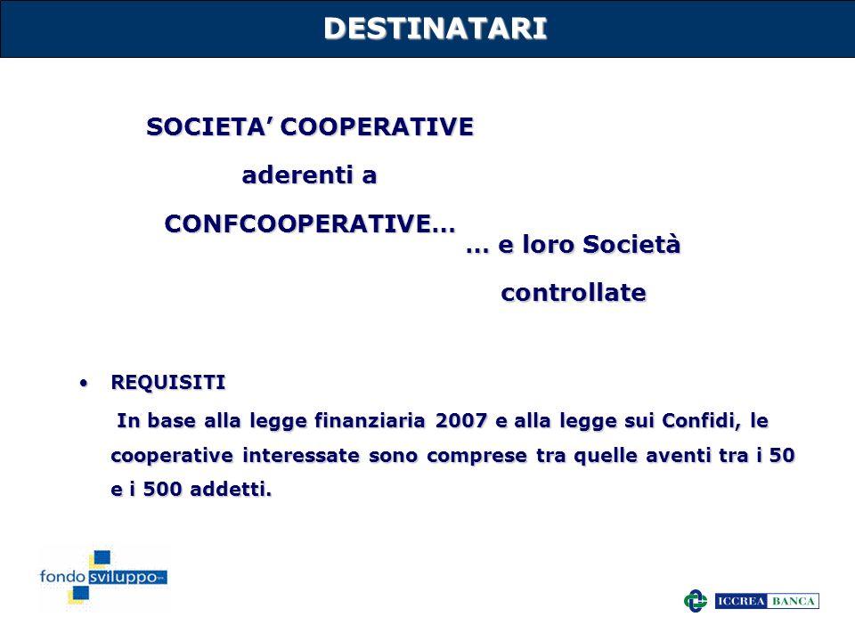 10 DESTINATARI REQUISITIREQUISITI In base alla legge finanziaria 2007 e alla legge sui Confidi, le cooperative interessate sono comprese tra quelle av