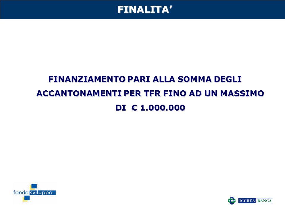 12 FINALITA FINANZIAMENTO PARI ALLA SOMMA DEGLI ACCANTONAMENTI PER TFR FINO AD UN MASSIMO DI 1.000.000