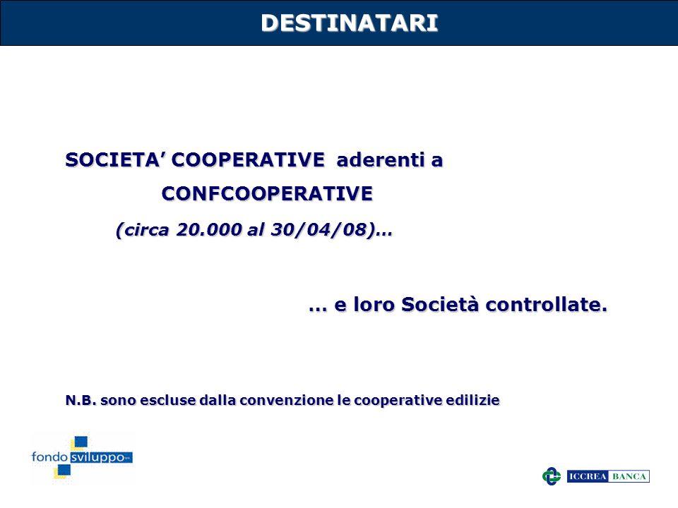 17DESTINATARI SOCIETA COOPERATIVE aderenti a CONFCOOPERATIVE (circa 20.000 al 30/04/08)… … e loro Società controllate. N.B. sono escluse dalla convenz