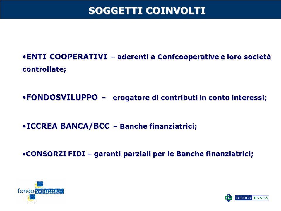 27 SOGGETTI COINVOLTI ENTI COOPERATIVI – aderenti a Confcooperative e loro società controllate;ENTI COOPERATIVI – aderenti a Confcooperative e loro so