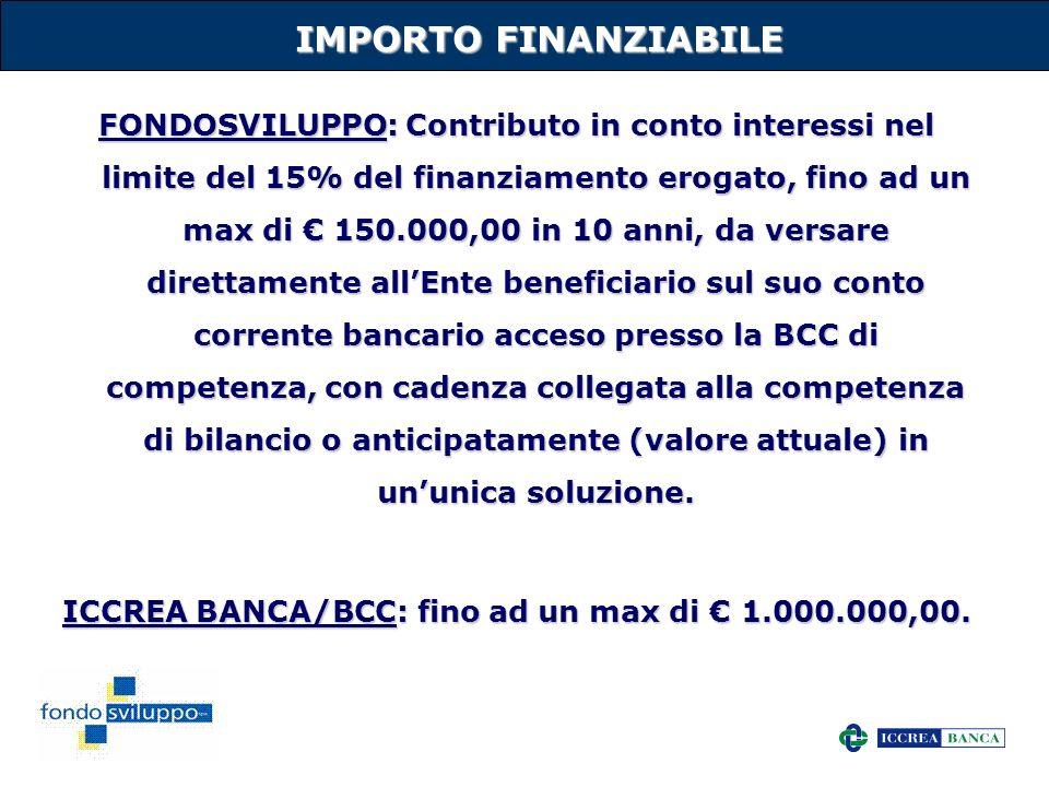 36 IMPORTO FINANZIABILE FONDOSVILUPPO: Contributo in conto interessi nel limite del 15% del finanziamento erogato, fino ad un max di 150.000,00 in 10