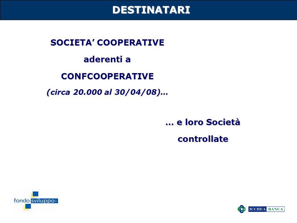 4 DESTINATARI SOCIETA COOPERATIVE aderenti a CONFCOOPERATIVE (circa 20.000 al 30/04/08)… … e loro Società controllate