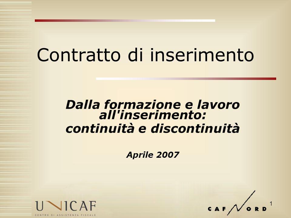 1 Contratto di inserimento Dalla formazione e lavoro all inserimento: continuità e discontinuità Aprile 2007