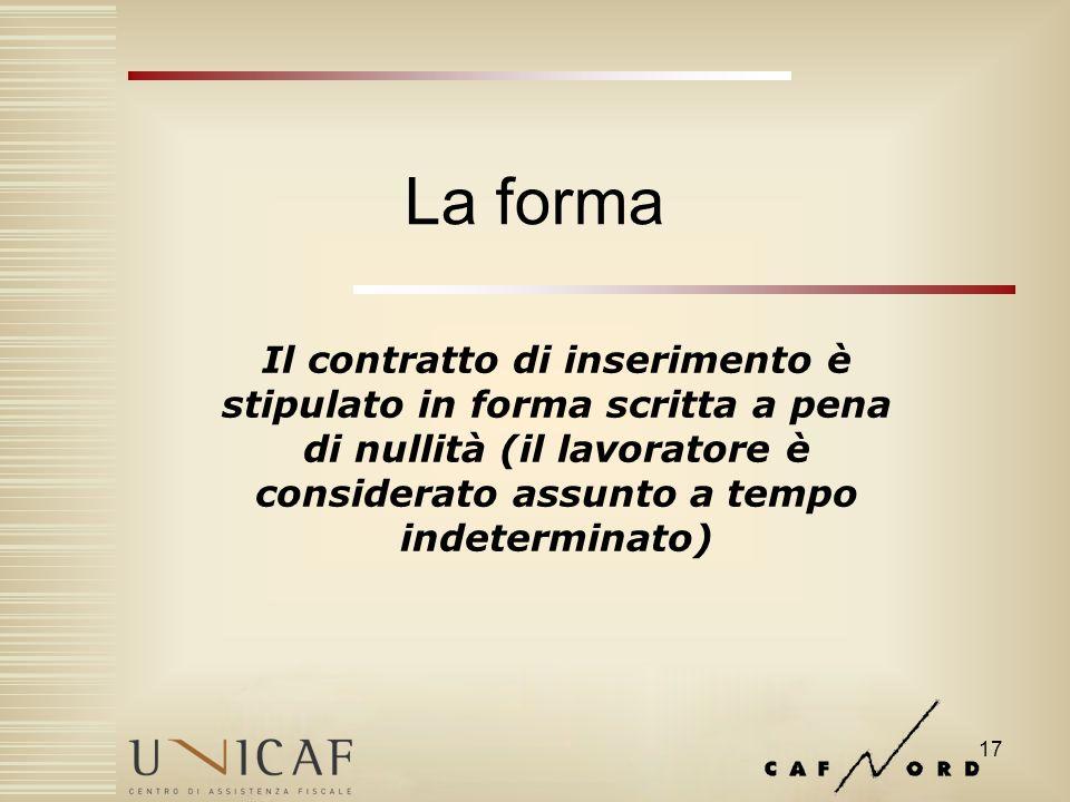 17 La forma Il contratto di inserimento è stipulato in forma scritta a pena di nullità (il lavoratore è considerato assunto a tempo indeterminato)