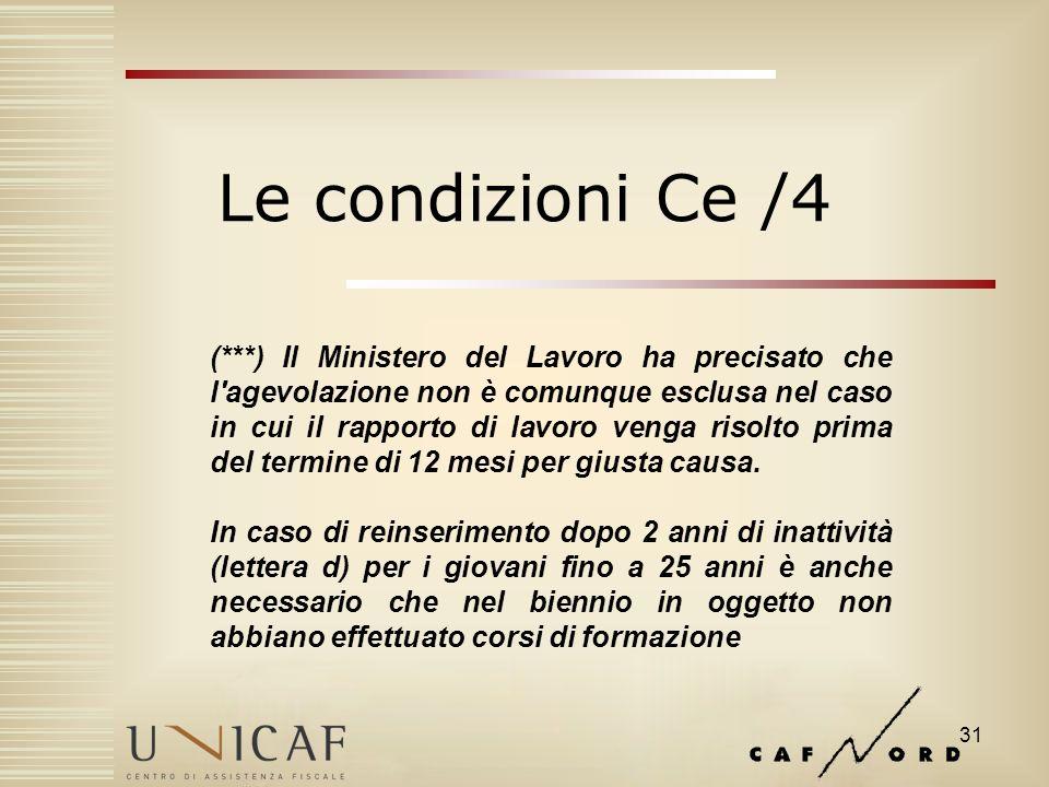31 Le condizioni Ce /4 (***) Il Ministero del Lavoro ha precisato che l agevolazione non è comunque esclusa nel caso in cui il rapporto di lavoro venga risolto prima del termine di 12 mesi per giusta causa.