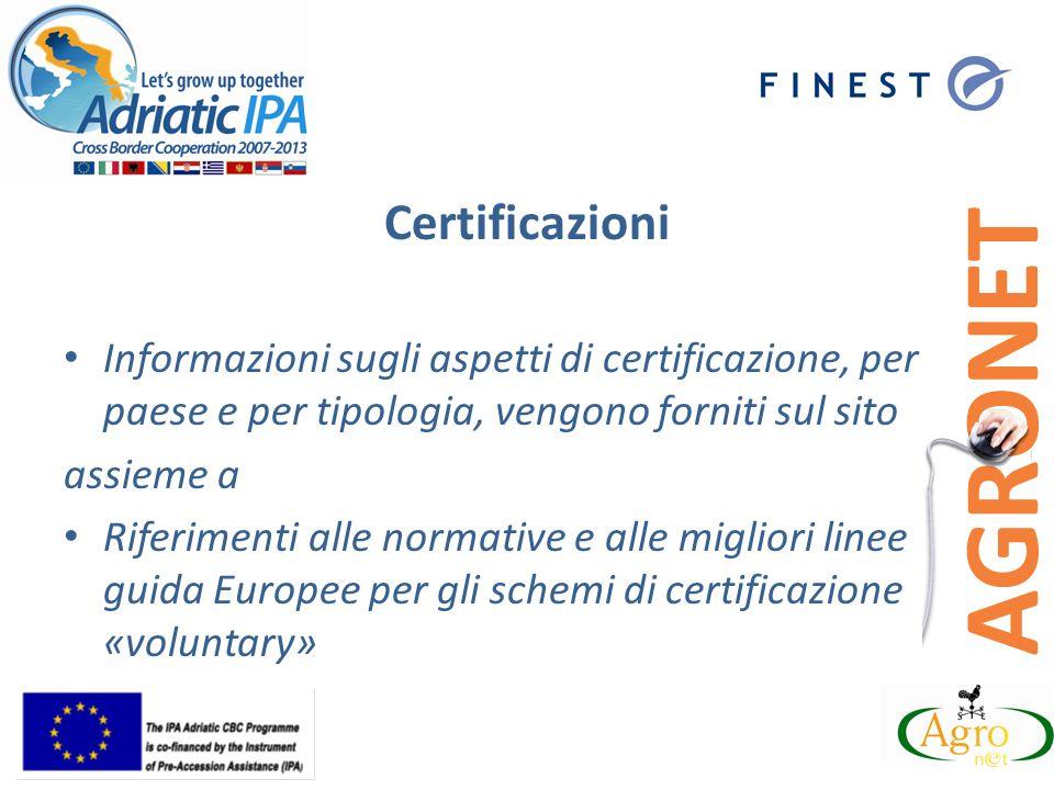 Certificazioni Informazioni sugli aspetti di certificazione, per paese e per tipologia, vengono forniti sul sito assieme a Riferimenti alle normative e alle migliori linee guida Europee per gli schemi di certificazione «voluntary»