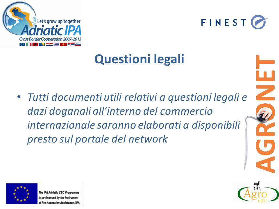 Questioni legali Tutti documenti utili relativi a questioni legali e dazi doganali allinterno del commercio internazionale saranno elaborati a disponibili presto sul portale del network
