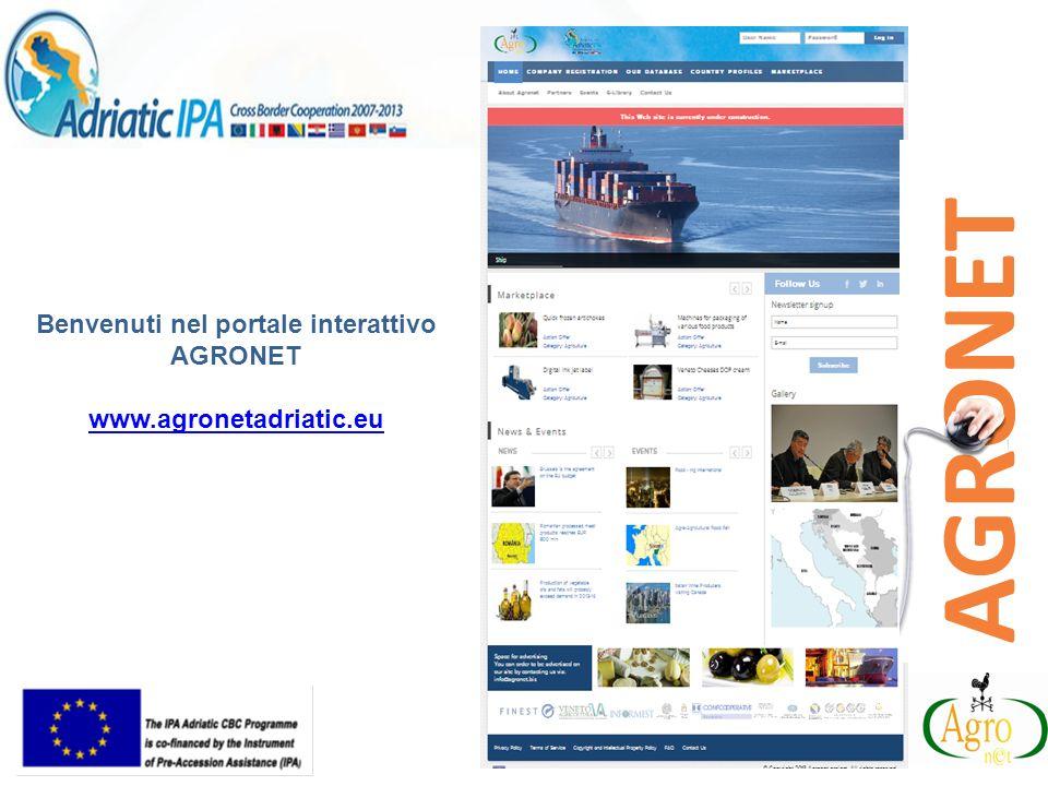 Benvenuti nel portale interattivo AGRONET www.agronetadriatic.eu