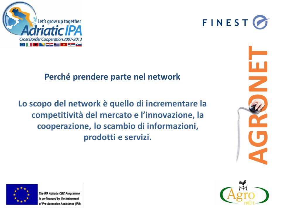 Perché prendere parte nel network Lo scopo del network è quello di incrementare la competitività del mercato e linnovazione, la cooperazione, lo scambio di informazioni, prodotti e servizi.