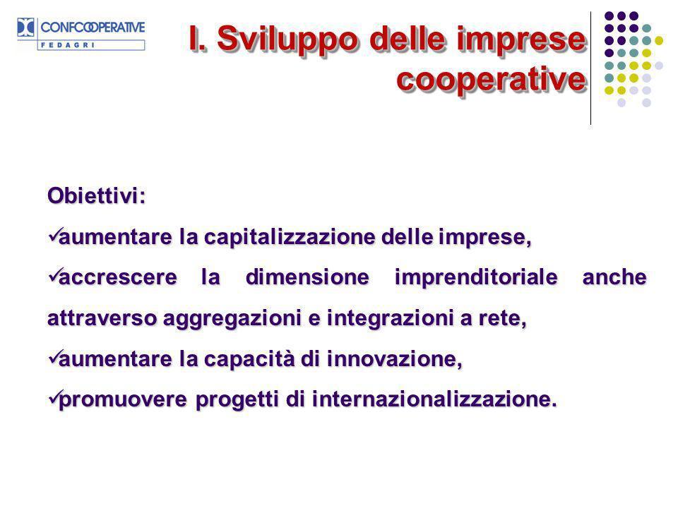 I. Sviluppo delle imprese cooperative Obiettivi: aumentare la capitalizzazione delle imprese, aumentare la capitalizzazione delle imprese, accrescere