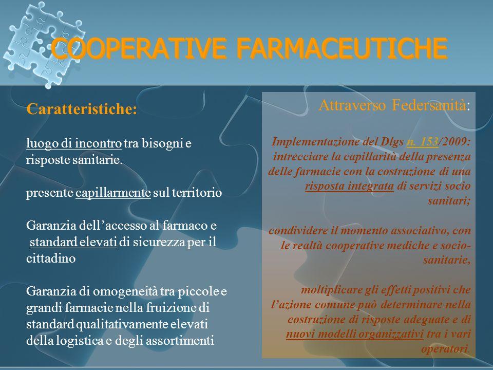 COOPERATIVE FARMACEUTICHE Caratteristiche: luogo di incontro tra bisogni e risposte sanitarie.