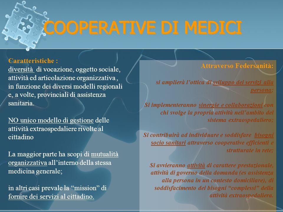 COOPERATIVE DI MEDICI Caratteristiche : diversità di vocazione, oggetto sociale, attività ed articolazione organizzativa, in funzione dei diversi modelli regionali e, a volte, provinciali di assistenza sanitaria.
