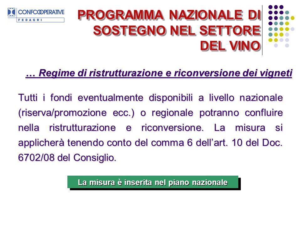 PROGRAMMA NAZIONALE DI SOSTEGNO NEL SETTORE DEL VINO Tutti i fondi eventualmente disponibili a livello nazionale (riserva/promozione ecc.) o regionale potranno confluire nella ristrutturazione e riconversione.