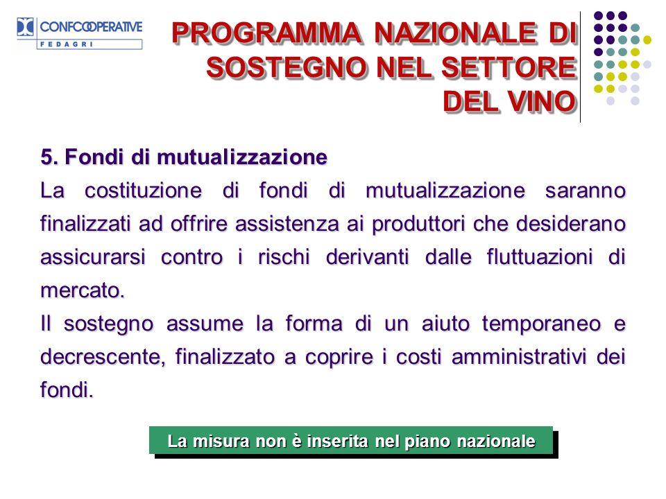 PROGRAMMA NAZIONALE DI SOSTEGNO NEL SETTORE DEL VINO 5.
