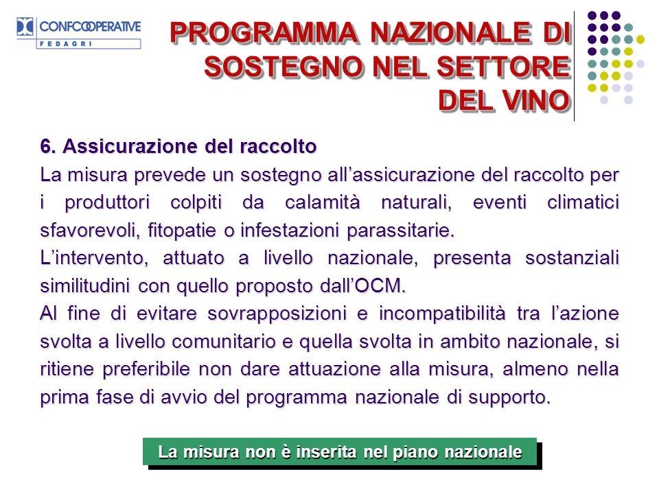 PROGRAMMA NAZIONALE DI SOSTEGNO NEL SETTORE DEL VINO 6.