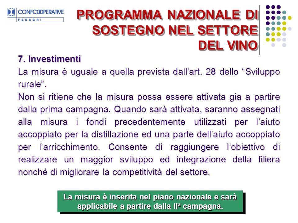 PROGRAMMA NAZIONALE DI SOSTEGNO NEL SETTORE DEL VINO 7.
