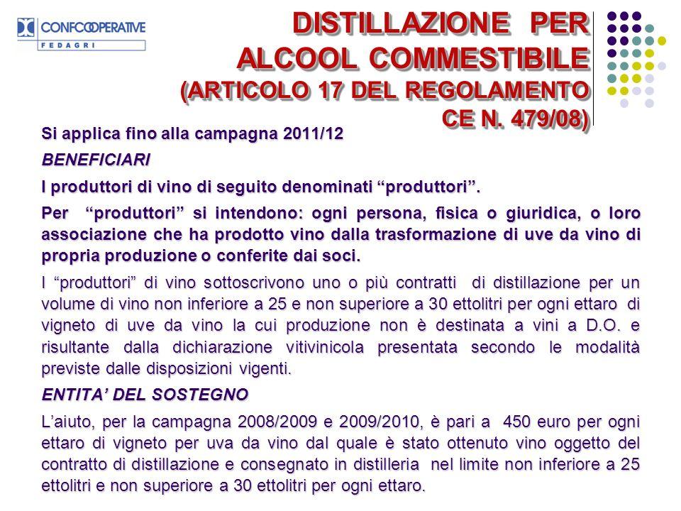DISTILLAZIONE PER ALCOOL COMMESTIBILE (ARTICOLO 17 DEL REGOLAMENTO CE N.