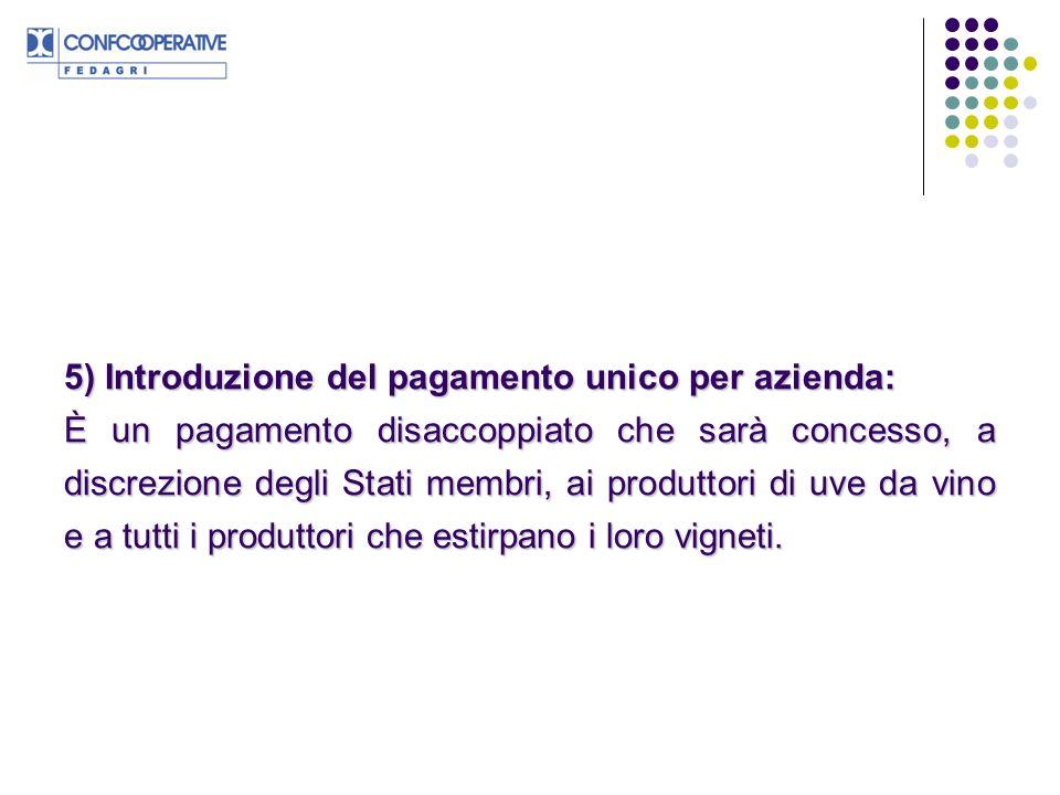 5) Introduzione del pagamento unico per azienda: È un pagamento disaccoppiato che sarà concesso, a discrezione degli Stati membri, ai produttori di uve da vino e a tutti i produttori che estirpano i loro vigneti.