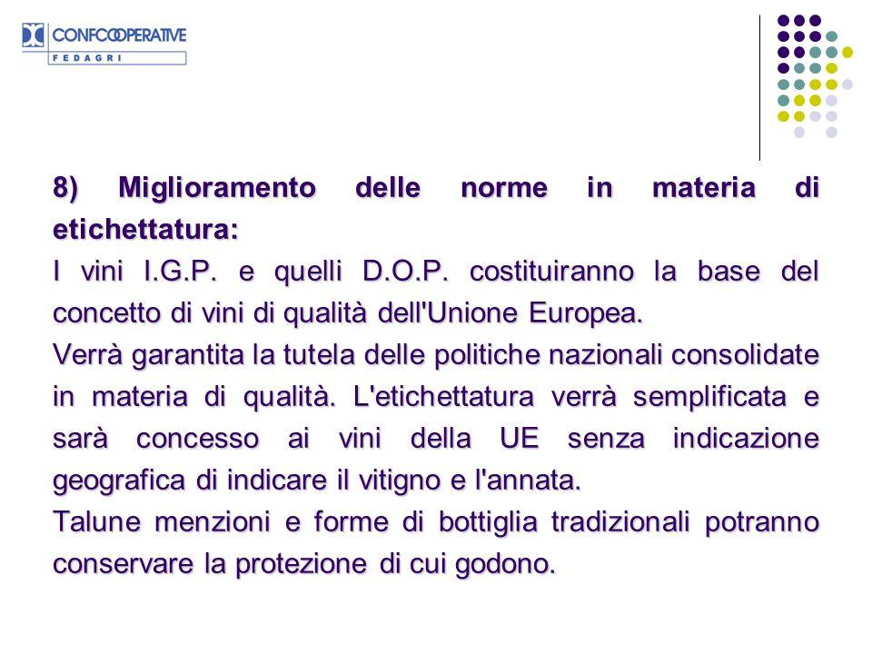 8) Miglioramento delle norme in materia di etichettatura: I vini I.G.P.
