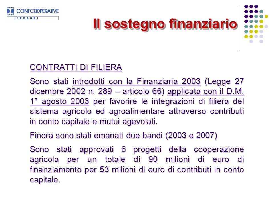 Il sostegno finanziario CONTRATTI DI FILIERA Sono stati introdotti con la Finanziaria 2003 (Legge 27 dicembre 2002 n.
