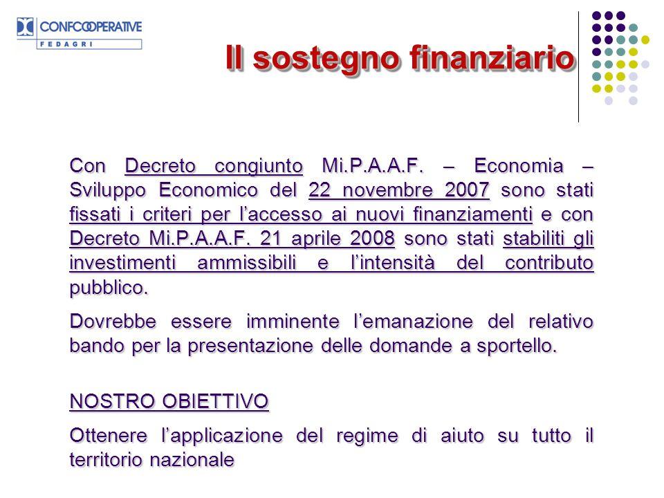 Il sostegno finanziario Con Decreto congiunto Mi.P.A.A.F.