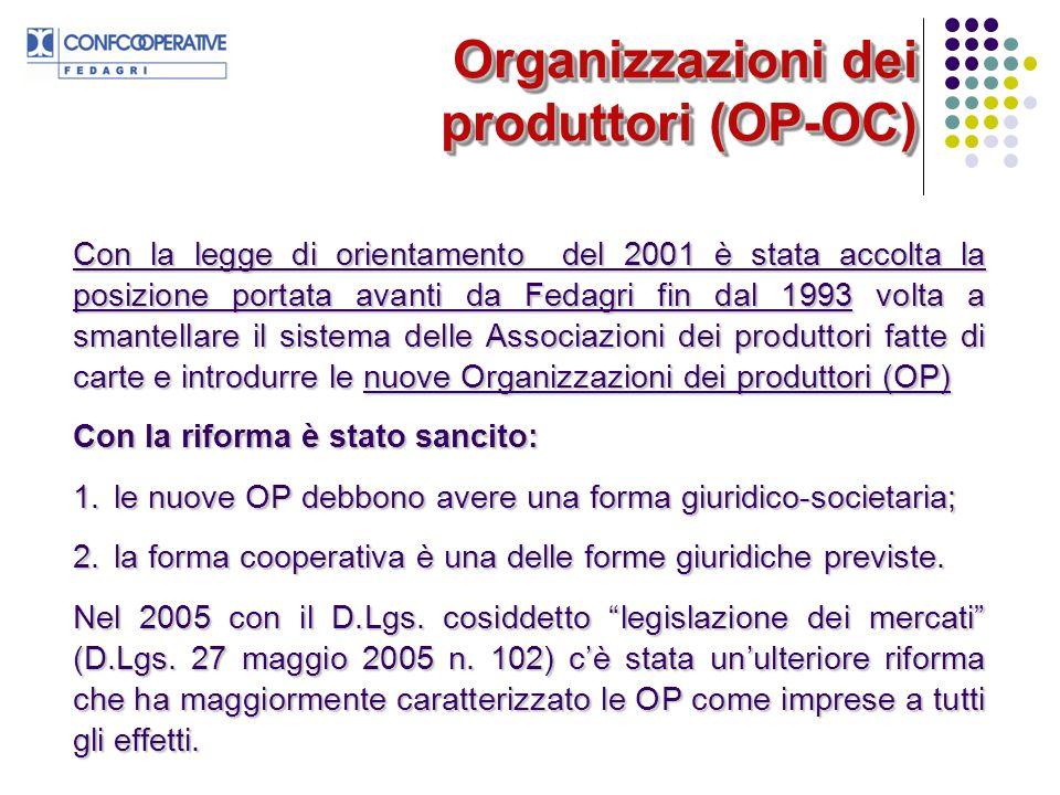 Organizzazioni dei produttori (OP-OC) Con la legge di orientamento del 2001 è stata accolta la posizione portata avanti da Fedagri fin dal 1993 volta a smantellare il sistema delle Associazioni dei produttori fatte di carte e introdurre le nuove Organizzazioni dei produttori (OP) Con la riforma è stato sancito: 1.le nuove OP debbono avere una forma giuridico-societaria; 2.la forma cooperativa è una delle forme giuridiche previste.