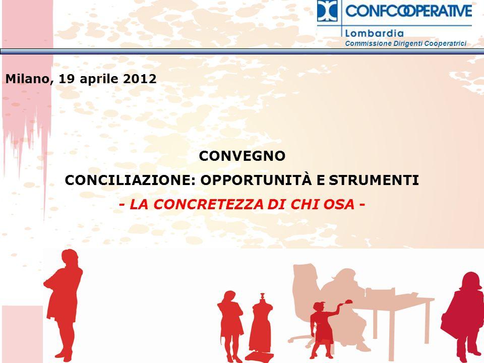 CONVEGNO CONCILIAZIONE: OPPORTUNITÀ E STRUMENTI - LA CONCRETEZZA DI CHI OSA - Milano, 19 aprile 2012 Commissione Dirigenti Cooperatrici