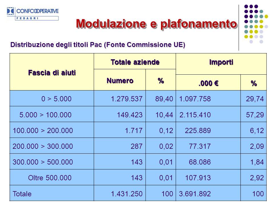 21 Modulazione e plafonamento Distribuzione degli titoli Pac (Fonte Commissione UE) Fascia di aiuti Totale aziende Importi Numero%.000.000 % 0 > 5.0001.279.53789,401.097.75829,74 5.000 > 100.000149.42310,442.115.41057,29 100.000 > 200.0001.7170,12225.8896,12 200.000 > 300.0002870,0277.3172,09 300.000 > 500.0001430,0168.0861,84 Oltre 500.0001430,01107.9132,92 Totale1.431.2501003.691.892100
