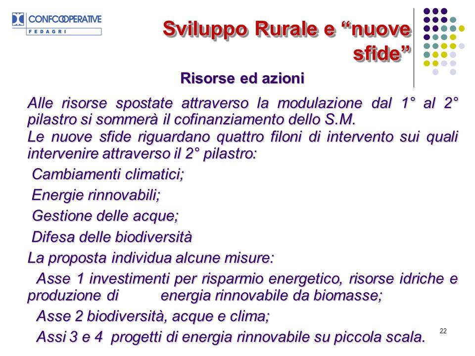 22 Sviluppo Rurale e nuove sfide Risorse ed azioni Alle risorse spostate attraverso la modulazione dal 1° al 2° pilastro si sommerà il cofinanziamento dello S.M.