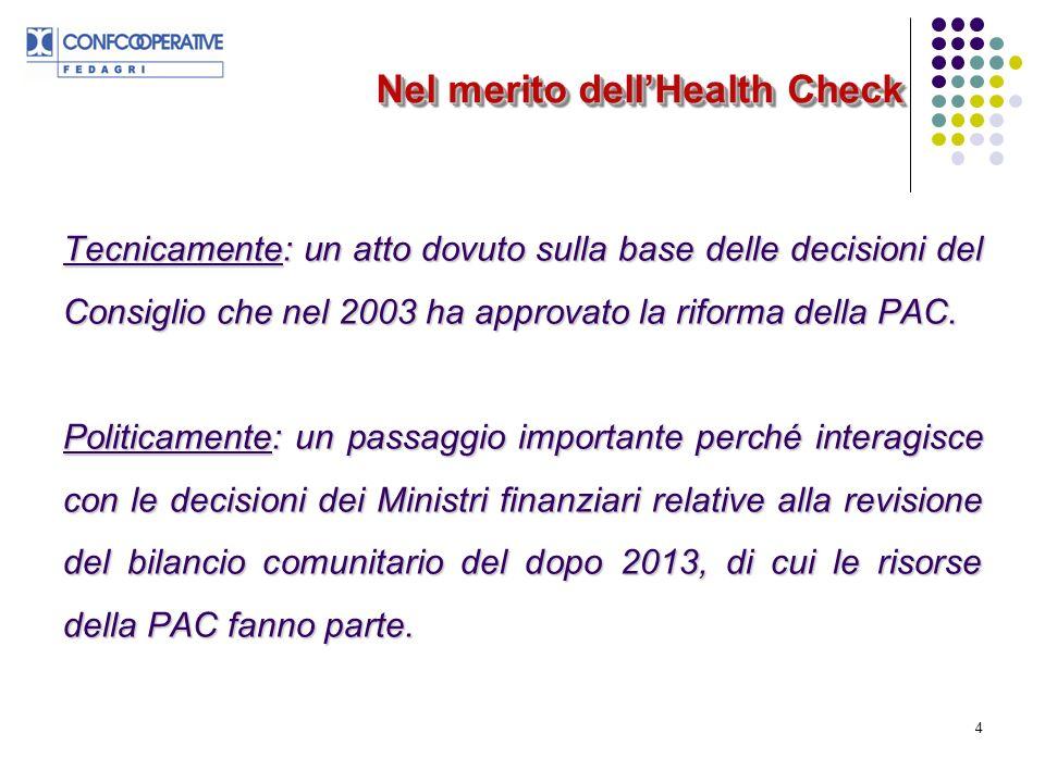 4 Nel merito dellHealth Check Tecnicamente: un atto dovuto sulla base delle decisioni del Consiglio che nel 2003 ha approvato la riforma della PAC.