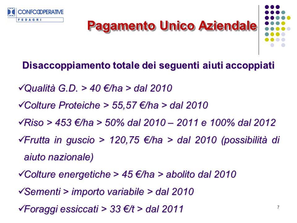 8 Pagamento Unico Aziendale Disaccoppiamento totale dei seguenti aiuti accoppiati Tabacco > 60% premio /Kg > dal 2010 Tabacco > 60% premio /Kg > dal 2010 Zucchero > da 25,64 /t (2006) a 43,66 /t (2009) > dal 2011 Zucchero > da 25,64 /t (2006) a 43,66 /t (2009) > dal 2011 Olio doliva > programmi qualità > 36 mln/anno > dal 2010 (SP e GR) Olio doliva > programmi qualità > 36 mln/anno > dal 2010 (SP e GR) Ortofrutta da industria > premi variabili > dal 2010 pomodoro, pera e pesca; dal 2012 prugna.