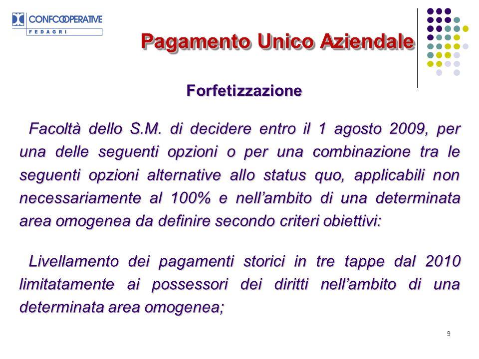 9 Pagamento Unico Aziendale Forfetizzazione Facoltà dello S.M.