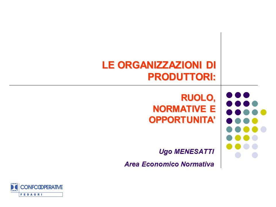 LE ORGANIZZAZIONI DI PRODUTTORI: Ugo MENESATTI Area Economico Normativa RUOLO, NORMATIVE E OPPORTUNITA