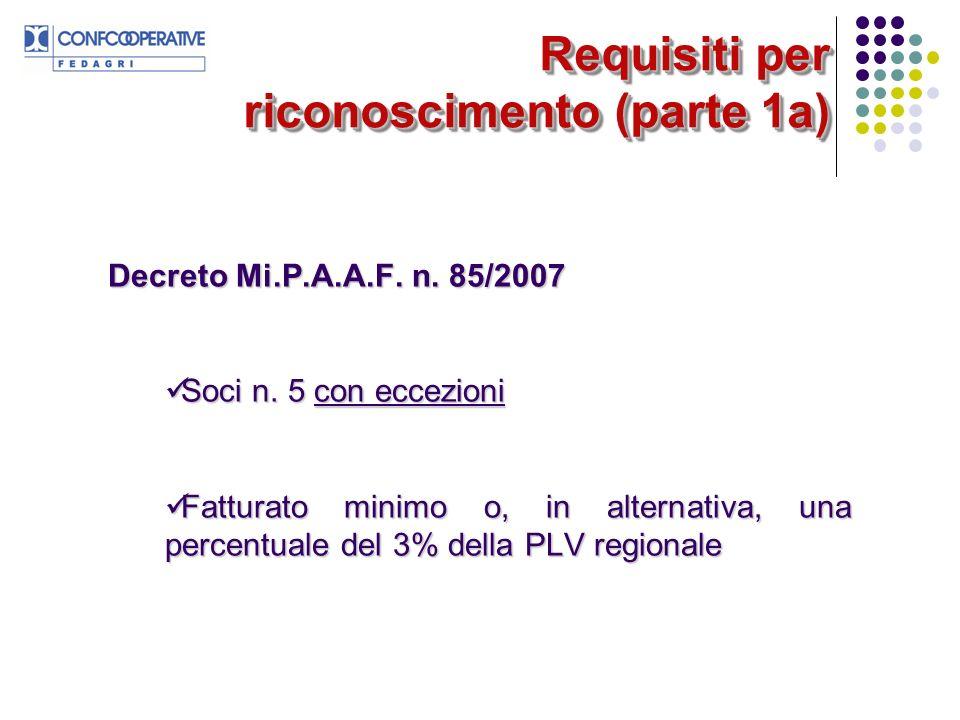 Requisiti per riconoscimento (parte 1a) Decreto Mi.P.A.A.F. n. 85/2007 Soci n. 5 con eccezioni Soci n. 5 con eccezioni Fatturato minimo o, in alternat