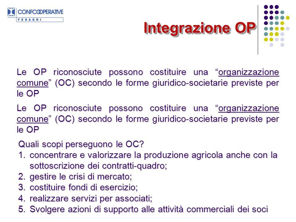 Integrazione OP Le OP riconosciute possono costituire una organizzazione comune (OC) secondo le forme giuridico-societarie previste per le OP Quali sc