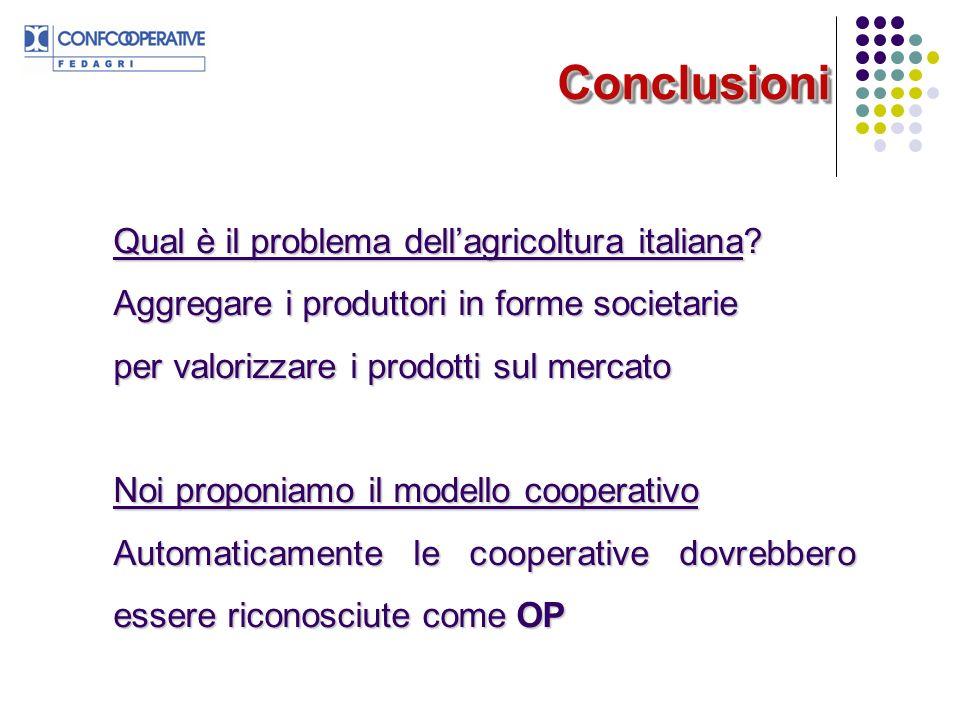 ConclusioniConclusioni Qual è il problema dellagricoltura italiana? Aggregare i produttori in forme societarie per valorizzare i prodotti sul mercato