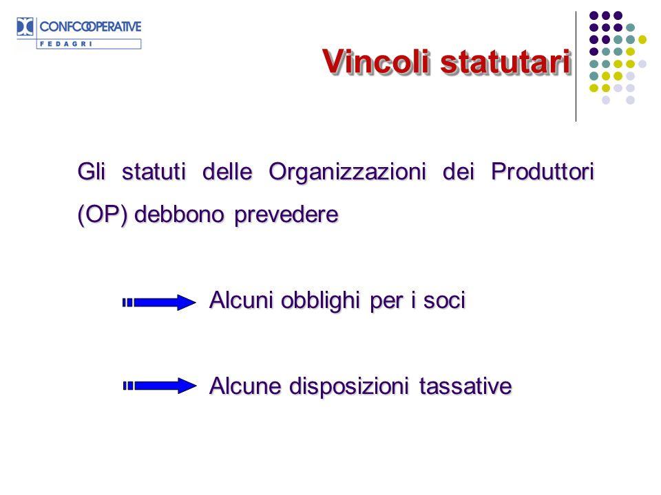 Gli statuti delle Organizzazioni dei Produttori (OP) debbono prevedere Alcuni obblighi per i soci Alcune disposizioni tassative Vincoli statutari