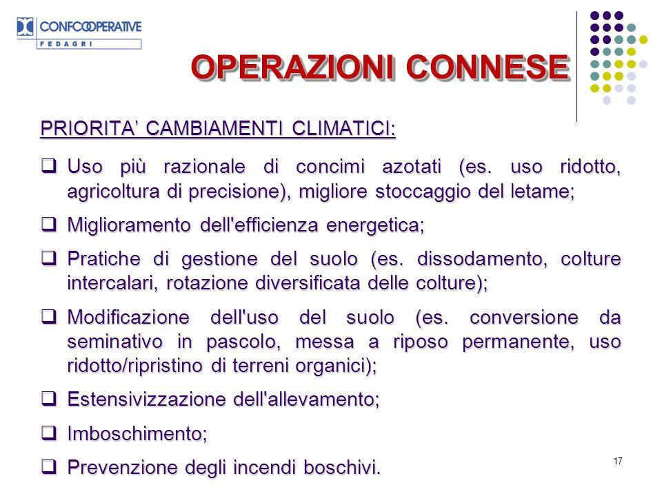 17 OPERAZIONI CONNESE PRIORITA CAMBIAMENTI CLIMATICI: Uso più razionale di concimi azotati (es.