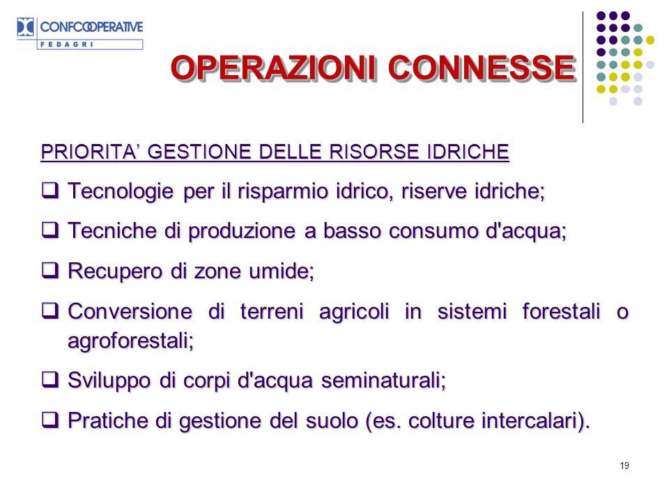 19 OPERAZIONI CONNESSE PRIORITA GESTIONE DELLE RISORSE IDRICHE Tecnologie per il risparmio idrico, riserve idriche; Tecnologie per il risparmio idrico, riserve idriche; Tecniche di produzione a basso consumo d acqua; Tecniche di produzione a basso consumo d acqua; Recupero di zone umide; Recupero di zone umide; Conversione di terreni agricoli in sistemi forestali o agroforestali; Conversione di terreni agricoli in sistemi forestali o agroforestali; Sviluppo di corpi d acqua seminaturali; Sviluppo di corpi d acqua seminaturali; Pratiche di gestione del suolo (es.