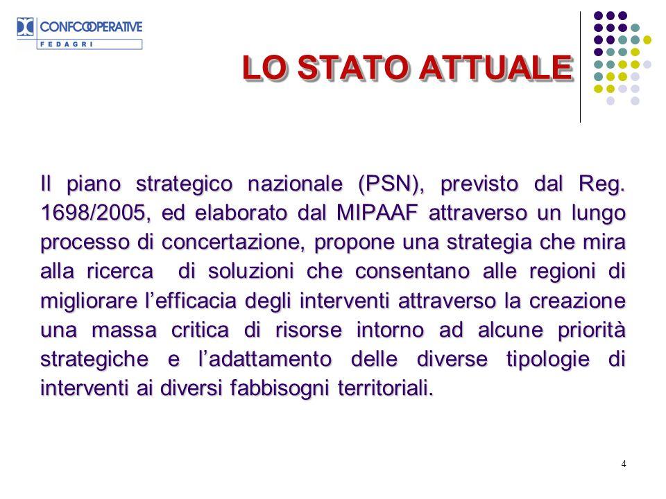 4 LO STATO ATTUALE Il piano strategico nazionale (PSN), previsto dal Reg.