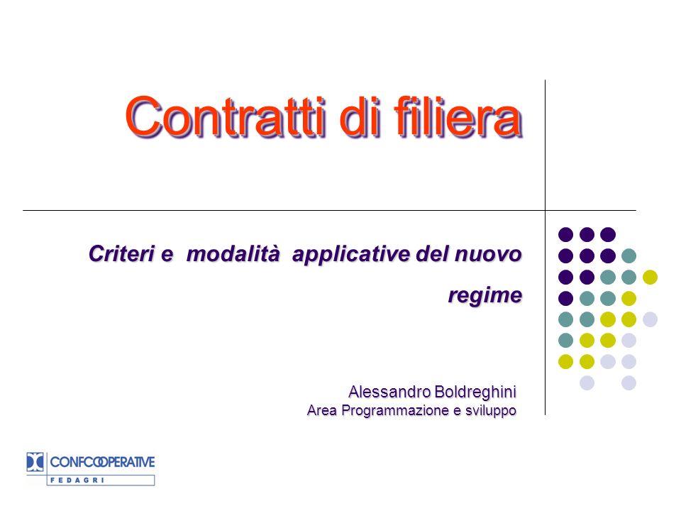 Contratti di filiera Criteri e modalità applicative del nuovo regime Alessandro Boldreghini Area Programmazione e sviluppo