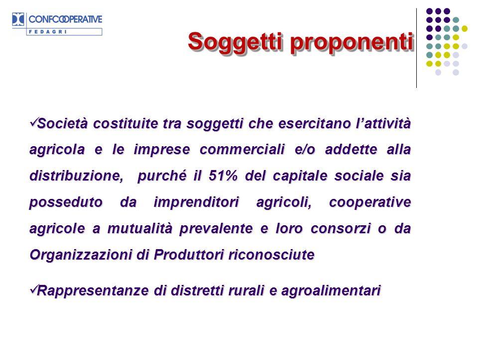 Soggetti proponenti Società costituite tra soggetti che esercitano lattività agricola e le imprese commerciali e/o addette alla distribuzione, purché