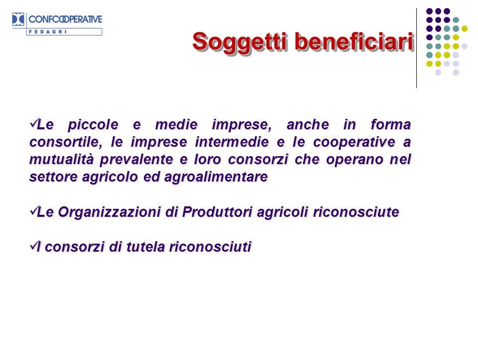 Soggetti beneficiari Le piccole e medie imprese, anche in forma consortile, le imprese intermedie e le cooperative a mutualità prevalente e loro conso