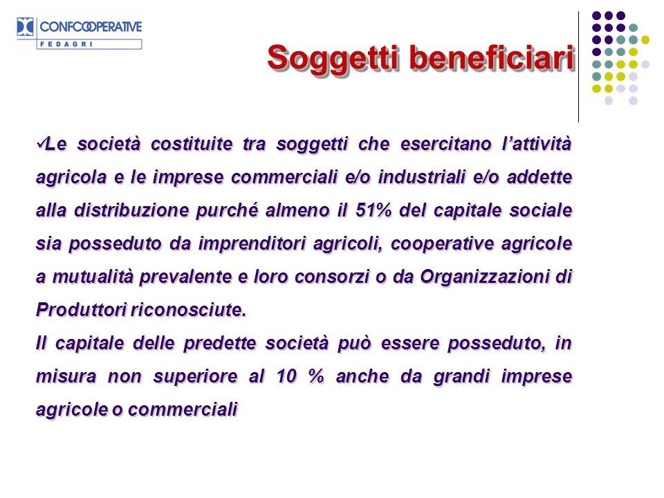 Soggetti beneficiari Le società costituite tra soggetti che esercitano lattività agricola e le imprese commerciali e/o industriali e/o addette alla di