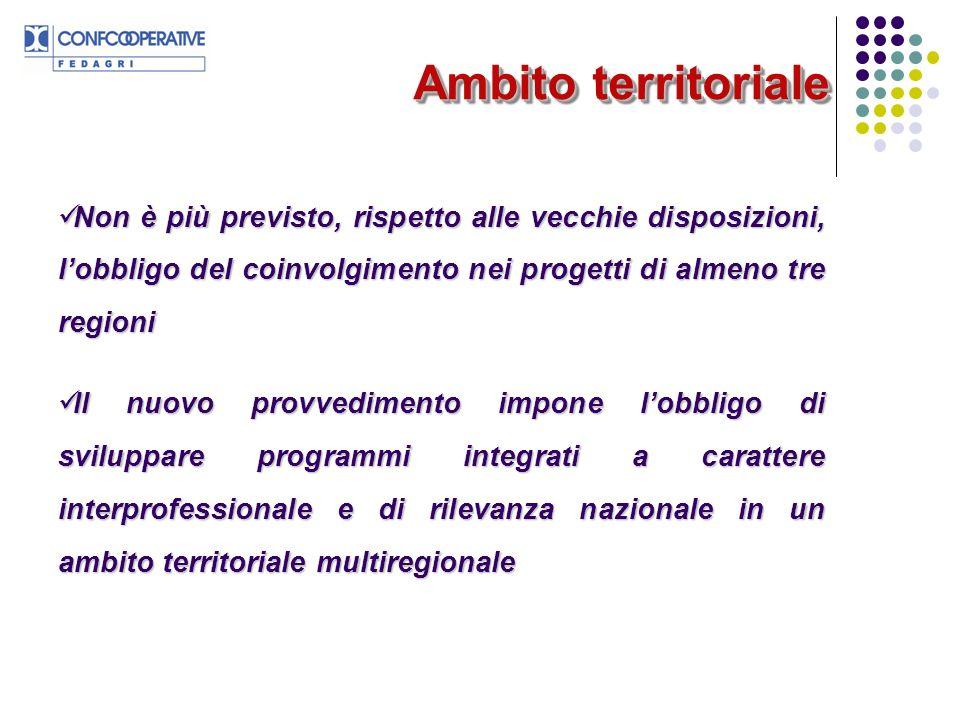 Ambito territoriale Non è più previsto, rispetto alle vecchie disposizioni, lobbligo del coinvolgimento nei progetti di almeno tre regioni Non è più p