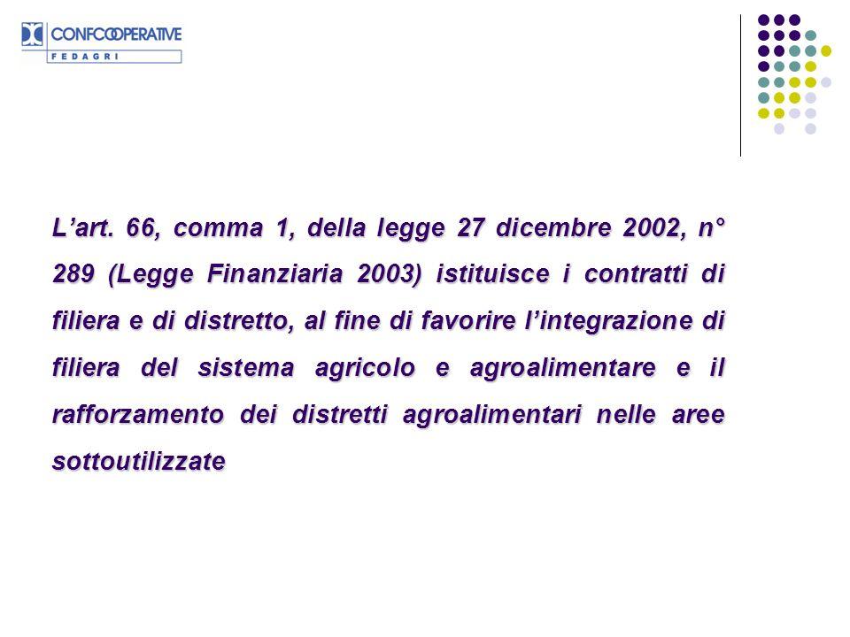 Lart. 66, comma 1, della legge 27 dicembre 2002, n° 289 (Legge Finanziaria 2003) istituisce i contratti di filiera e di distretto, al fine di favorire