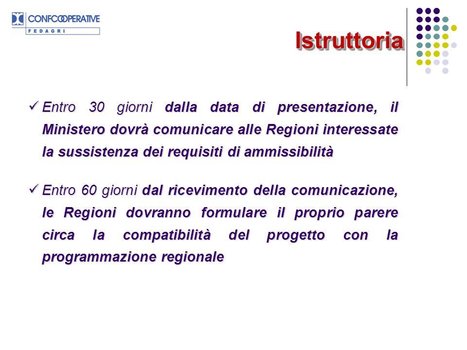 IstruttoriaIstruttoria Entro 30 giorni dalla data di presentazione, il Ministero dovrà comunicare alle Regioni interessate la sussistenza dei requisit