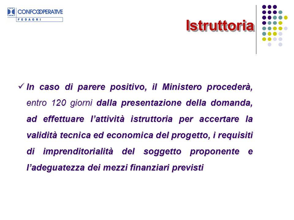 IstruttoriaIstruttoria In caso di parere positivo, il Ministero procederà, entro 120 giorni dalla presentazione della domanda, ad effettuare lattività
