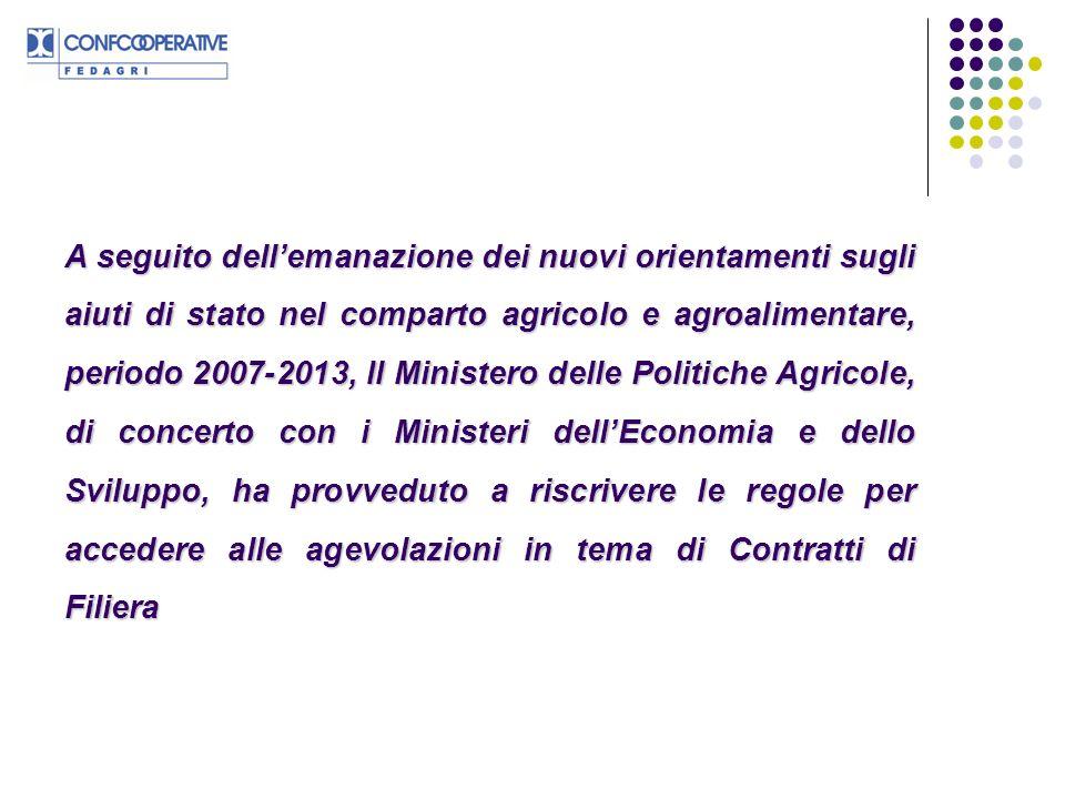 A seguito dellemanazione dei nuovi orientamenti sugli aiuti di stato nel comparto agricolo e agroalimentare, periodo 2007-2013, Il Ministero delle Pol